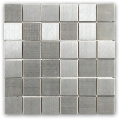 Stainless Steel 2 x 2 Metal Mosaic Tile in Brushed Silver