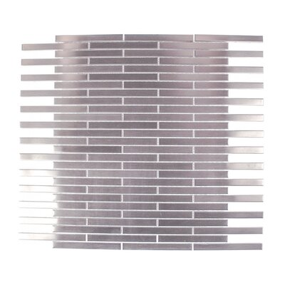 Stainless Steel 0.75 x 4 Metal Mosaic Tile in Brushed Silver