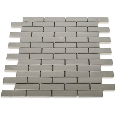 Stainless Steel 0.75 x 2 Metal Mosaic Tile in Brushed Silver