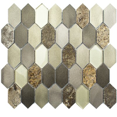 Fortis 1.43 x 2.75 Metal/Marble/Glass Mosaic Tile in Brushed Polished Gold/Tan