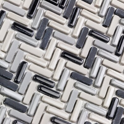 Recoup 3 x 6 Glass Mosaic Tile in Steel
