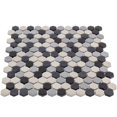 Recoup 11.5 x 12 Glass Mosaic Tile in Gray/Black