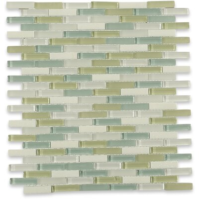 Cleveland 0.5 x 1.5 Glass/Marble Mosaic Tile in Frosted Light Green/Blue