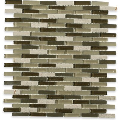 Cleveland 0.5 x 1.5 Glass/Marble Mosaic Tile in 2 Color Blend