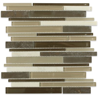 Cleveland Random Sized Glass/Marble Mosaic Tile in Frosted Brown/Dark Brown/Tan