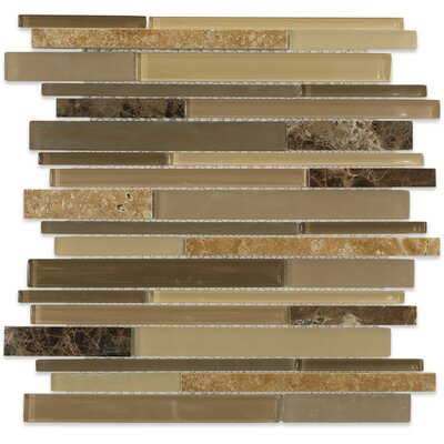 Cleveland Random Sized Glass/Marble Mosaic Tile in Frosted Brown/Dark Brown Stone/Tan