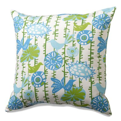 Menagerie Cotton Throw Pillow Color: Blue/Green
