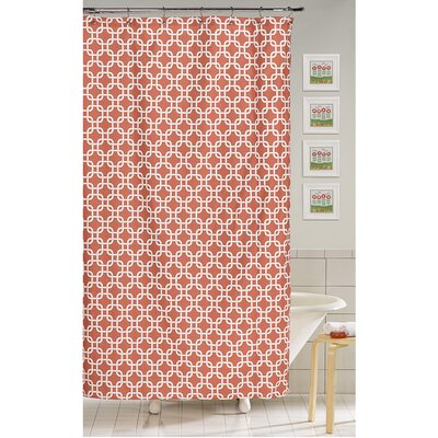 Metro Shower Curtain Color: Coral
