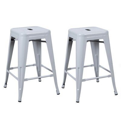24 Bar Stool Finish: Silver Gray
