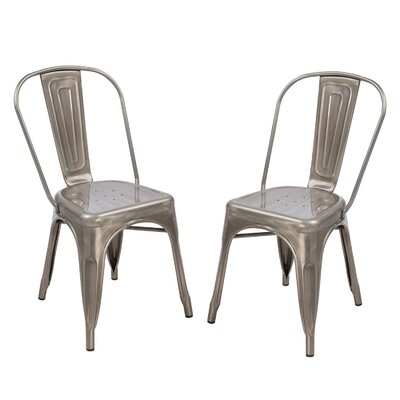 Metal Stackable Chic Dining Bistro Cafe Side Chair Finish: Silver Gunmetal