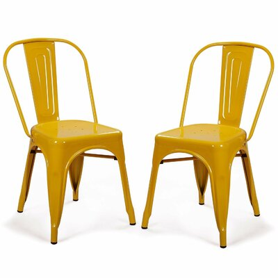 Metal Stackable Chic Dining Bistro Cafe Side Chair Finish: Yellow