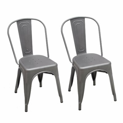 Metal Stackable Chic Dining Bistro Cafe Side Chair Finish: Gray