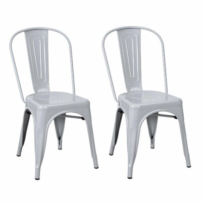 Metal Stackable Chic Dining Bistro Cafe Side Chair Finish: Gainsboro