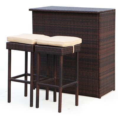 3 Piece Wicker Bar Set