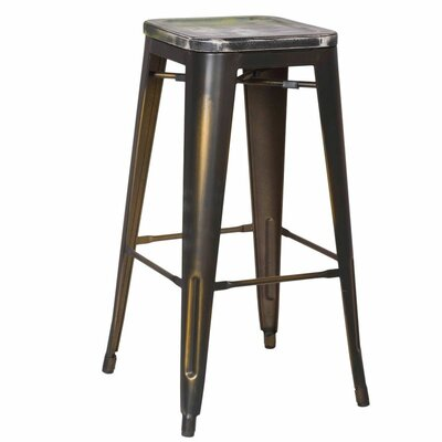 30 Bar Stool Seat Color: Green/Black, Leg Color: Matt Galvanised