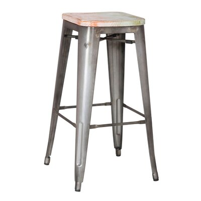 30 inch Bar Stool Finish: Silver/White