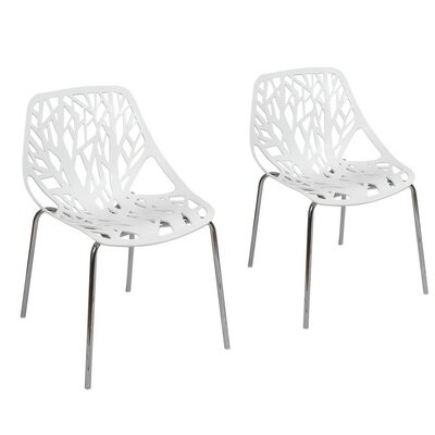 Crawley Tree Cucoloris Side Chair Finish: White