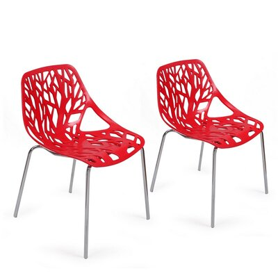 Crawley Tree Cucoloris Side Chair Finish: Red