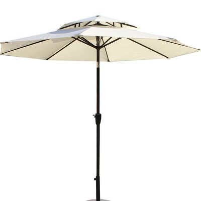 9 Dolan Outdoor Market Umbrella Fabric: White