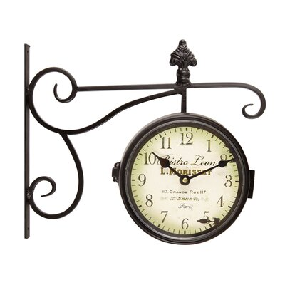 "Bistro Leon"" Round Black/Off-White Wall Clock ONAW1348 38717721"
