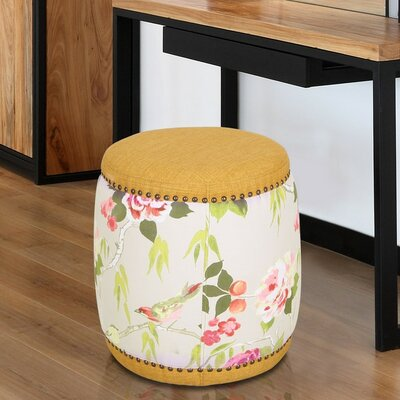 Mayfield Oriental Style Ottoman Upholstery: Yellow