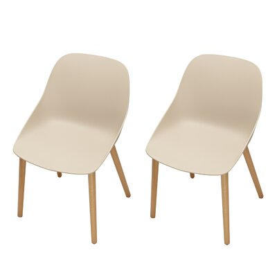 Sanor Beechwood Dining Chair Color: Beige