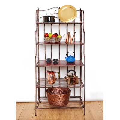 Montclair Standard Bakers Rack Finish: Antique Copper/Rosewood