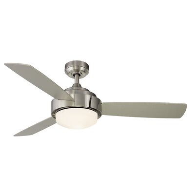 52 Coop 3-Blade Ceiling Fan with Light Kit and Remote Finish: Brushed Nickel
