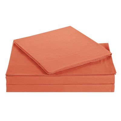 Elisa Kids Solid Sheet Set Size: Full, Color: Orange