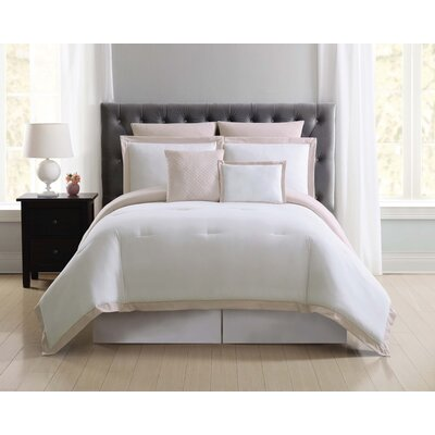 Fishponds 7 Piece Comforter Set Size: King, Color: Blush