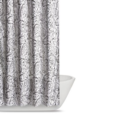 Newburgh Paisley Watercolor Shower Curtain Color: Grey