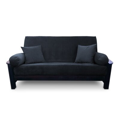 Simoes Solid Box Cushion Futon Slipcover Upholstery: Black, Size: Full