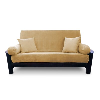 Simoes Solid Box Cushion Futon Slipcover Upholstery: Caramel, Size: Queen