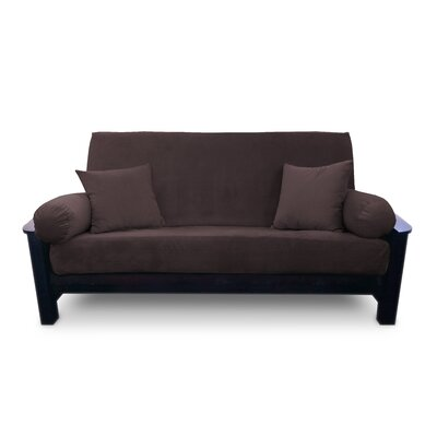Simoes Solid Box Cushion Futon Slipcover Upholstery: Chocolate, Size: Twin
