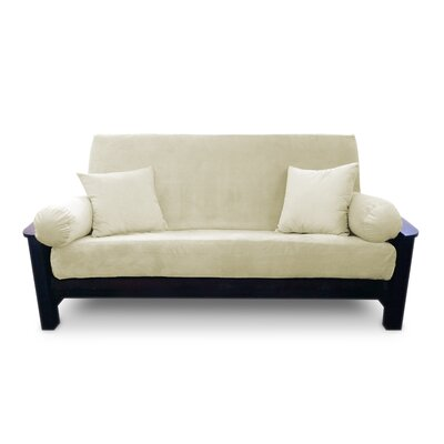 Simoes Solid Box Cushion Futon Slipcover Upholstery: Cream, Size: Queen