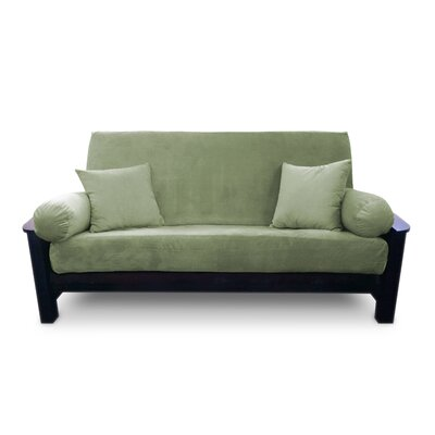 Simoes Solid Zipper Box Cushion Futon Slipcover Upholstery: Fern