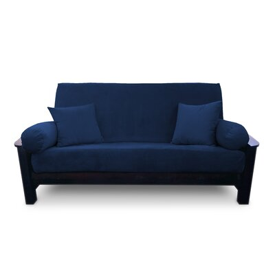 Simoes Solid Box Cushion Futon Slipcover Upholstery: Indigo, Size: Queen