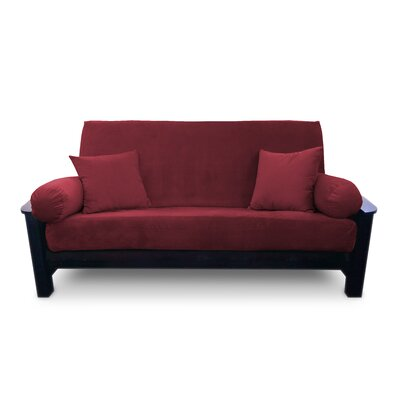 Simoes Solid Box Cushion Futon Slipcover Upholstery: Merlot, Size: Queen