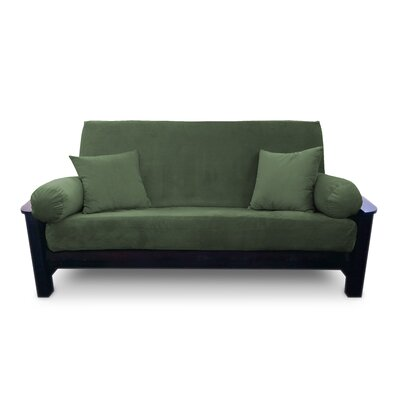 Simoes Zipper Box Cushion Futon Slipcover Upholstery: Moss