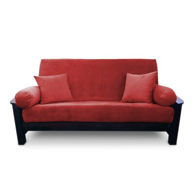 Simoes Solid Box Cushion Futon Slipcover Upholstery: Persimmon, Size: Twin