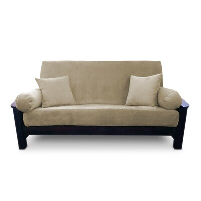 Simoes Solid Box Cushion Futon Slipcover Upholstery: Sand, Size: Queen