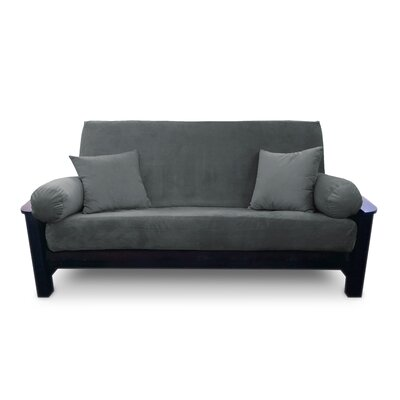 Simoes Solid Box Cushion Futon Slipcover Upholstery: Slate, Size: Queen