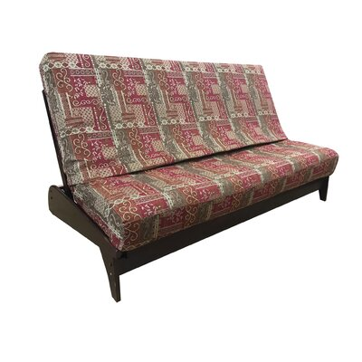 Premium Heavy Texture Box Cushion Futon Slipcover Upholstery: Crimson