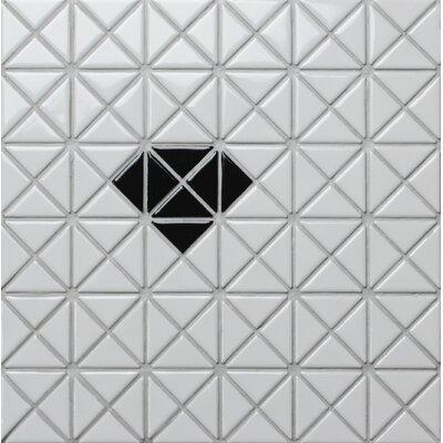 Single Diamond Series 1.58 x 1.16 Porcelain Mosaic Tile in Glossy Black