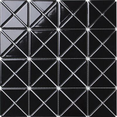 Single Color Series 2.33 x 1.66 Porcelain Mosaic Tile in Glossy Black