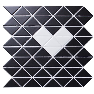 Single Heart Series 2.33 x 1.66 Porcelain Mosaic Tile in Matte White