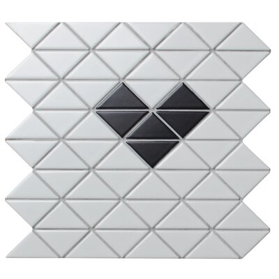 Single Heart Series 2.33 x 1.66 Porcelain Mosaic Tile in Matte Black