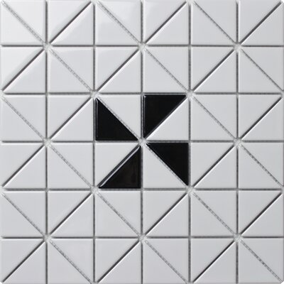 Single Windmill Series 2.33 x 1.66 Porcelain Mosaic Tile in Glossy