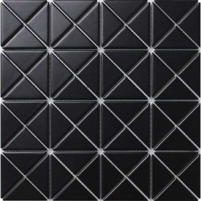 Single Color Series 2.33 x 1.66 Porcelain Mosaic Tile in Matte Black