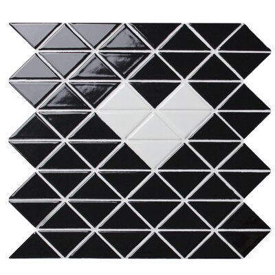 Single Heart 1 x 2 Porcelain Mosaic Wall Tile in Glossy Black